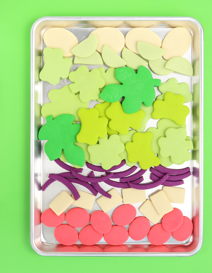 cookie tray full of blank colored salad sugar cookies