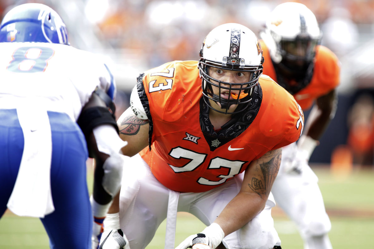Oklahoma State offensive tackle Teven Jenkins, a breakout 2021 NFL Draft first round candidate.