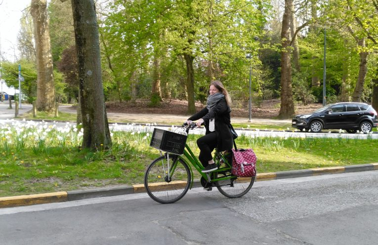 This is a picture of a Ingrid De Wilde biking in Ghent