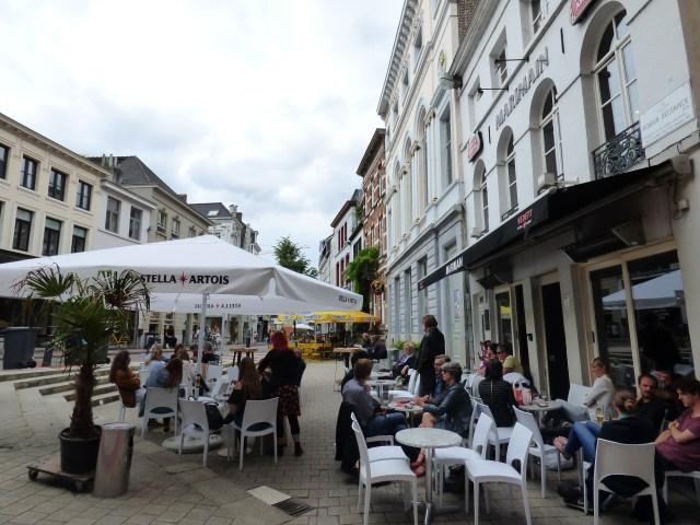 The terraces of Cafe Romain (yellow umbrellas)/Marimain (white umbrellas)