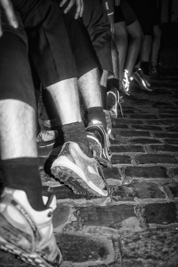 Image of black and white running shoes in Gent
