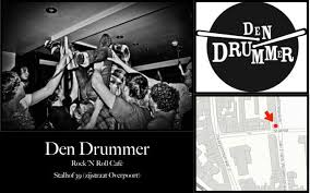 Image of Den Drummer, a concert venue in Gent including logo, address, map and a picture with people doing a stage dive