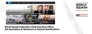 Squash JOBS : WSF Chief Executive