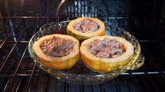 Acorn squash stuffed with sausage just in the oven