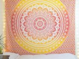 Mellow Yellow Orange Ombre Mandala Twin