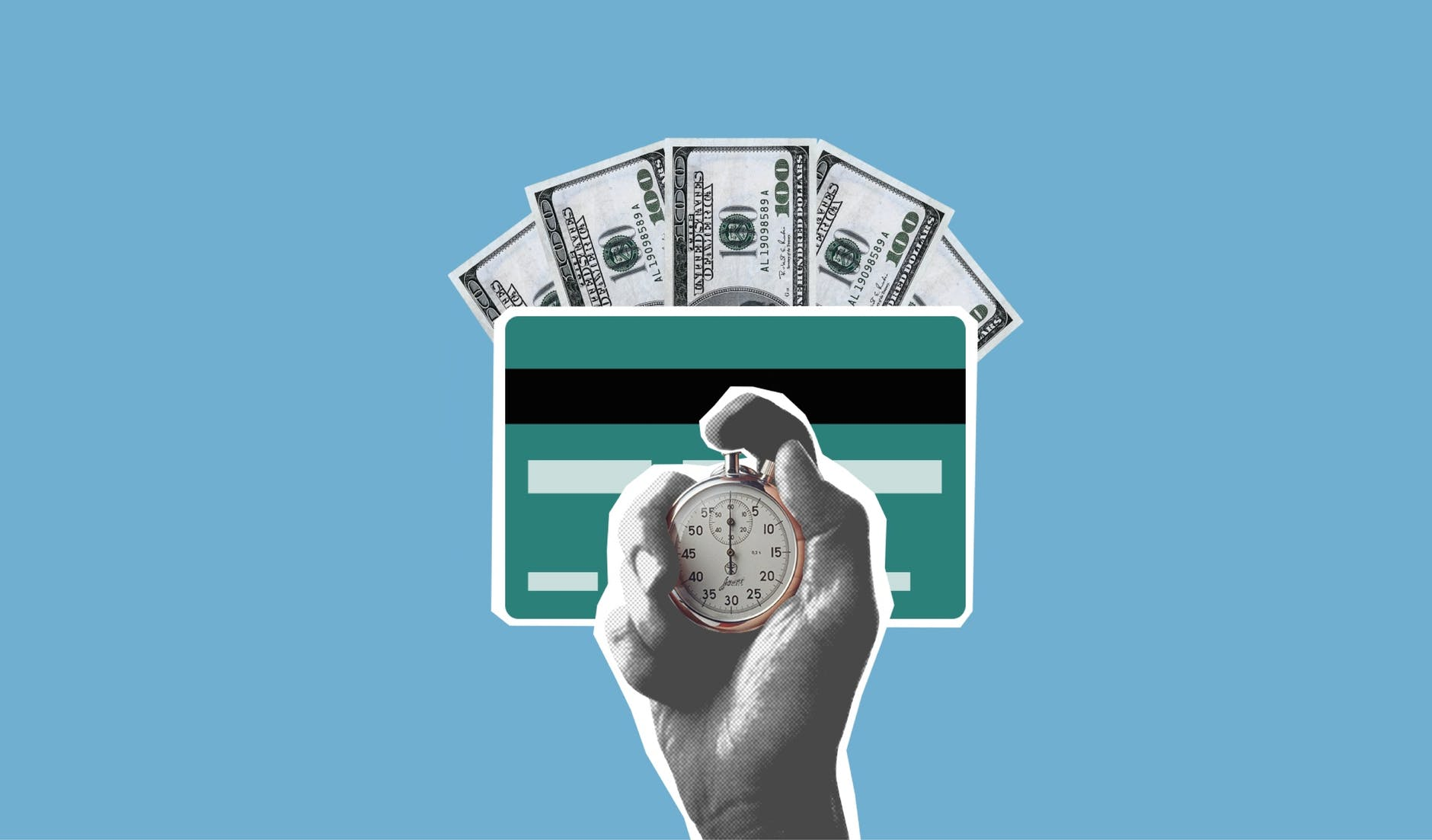 concept of waiting for cash credited to bank card