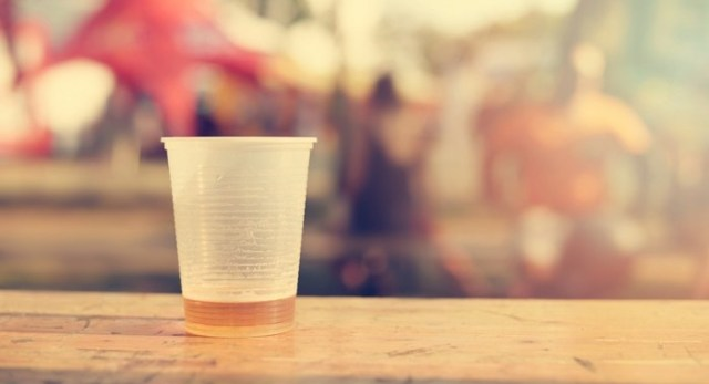 plastic cup with beer