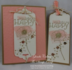 Happy Watercolor Card with unattached Bookmark
