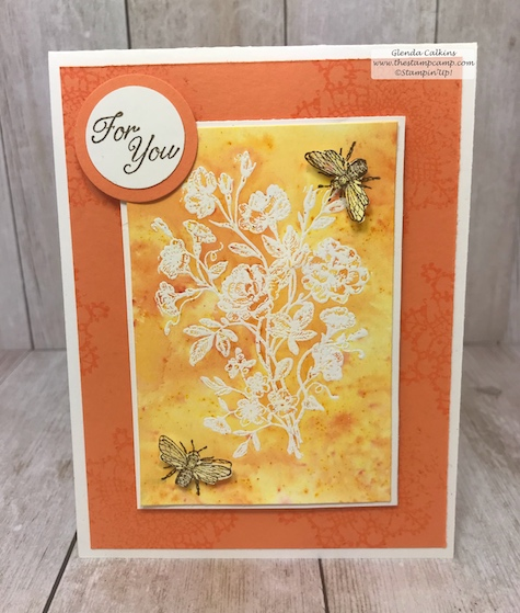 This is the Brusho Resists technique with the Very Vintage stamp set from Stampin' Up!  Details are on my blog: www.thestampcamp.com #stampinup #thestampcamp #glendasblog #technique