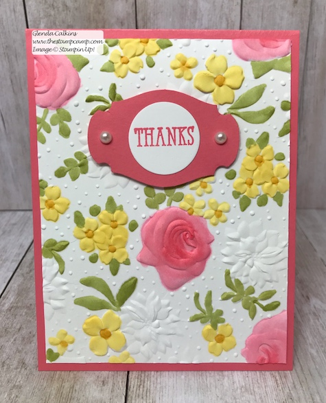 Country Floral embossing folder free during Sale-a-bration from Stampin' Up! this ends March 31 2019.  Details www.thestampcamp.com #glendasblog, #stampinup #saleabration #thestampcamp
