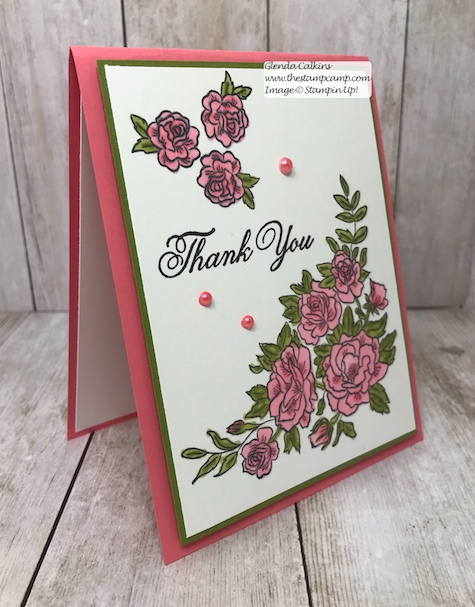 This is the Climbing Roses stamp set from Stampin' Up!  It is so pretty done up in Flirty Flamingo; but then I'm partial to pink.  details on my blog: www.thestampcamp.com #stampinup #thestampcamp #cards #roses