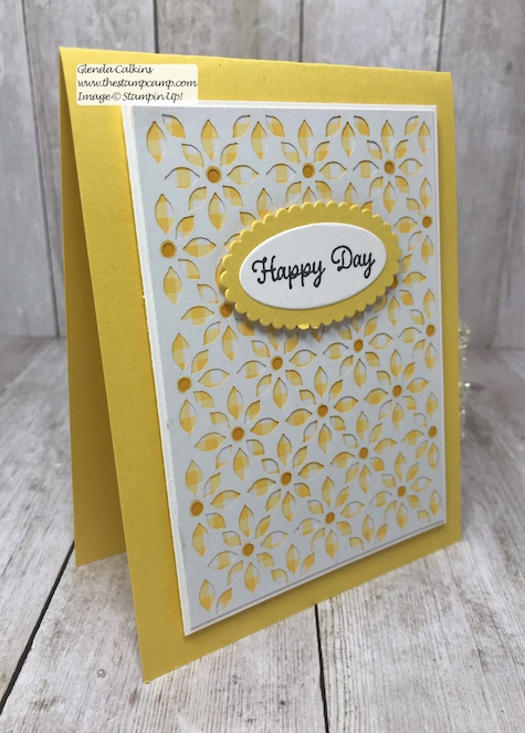 The intricate paper is from the Delightfully Detailed Laser Cut Specialty Paper from Stampin' Up!  Details on my blog: www.thestampcamp.com #stampinup #thestampcamp #glendasblog #cards