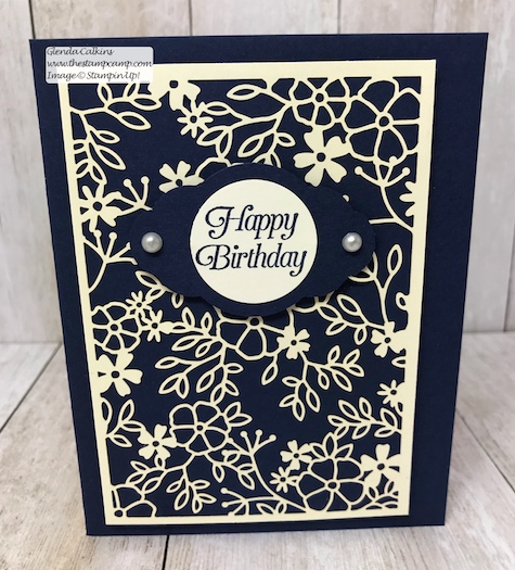 This intricate paper is part of the Delightfully Detailed Laser-Cut Specialty papers from Stampin' Up! Details on my blog: www.thestampcamp.com, #stampinup #thestampcamp #handmadecards #birthday