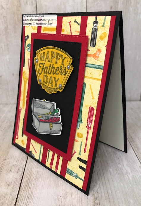 This is my featured stamp set for May Geared Up Garage. This card is a great card for Father's Day or Birthday's. Details on my blog: www.thestampcamp.com #garagegear #stampinup #thestampcamp #masculine #tooltime