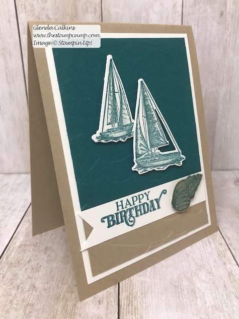 Did you know that the July Paper Pumpkin On My Mind and the Sail Away Home Suite coordinate? Well they do and this card is a combination of both stamp sets. Details on my blog here: https://wp.me/p59VWq-agi #stampin' Up! #paperpumpkin #thestampcamp #sailaway