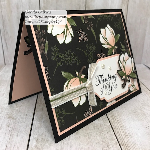 This is the Magnolia Lane Designer Series Paper and the Detailed Bands Dies from Stampin' Up! Details on my blog here: https://wp.me/p59VWq-ada #stampinup #dies #magnolia #thestampcamp #cards