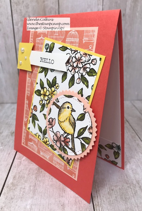 This is the Bird Ballad Designer Series Paper from Stampin' Up! See how easy it is to create a card with just papers and minimal stamping. Details on my blog here: https://wp.me/p59VWq-aiP #stampinup #thestampcamp #designerpaper #stamp