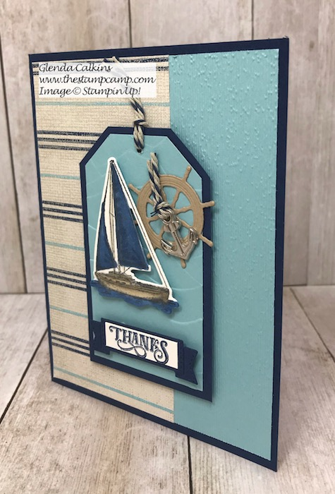 This is the Sailing Home Bundle with the Come Sail Away Designer Series Papers from Stampin' Up! Details can be found on my blog here: https://thestampcamp.com/sailing-home-bundle-with-come-sail-away-dsp/ #stampinup #thestampcamp #sailinghome #sail
