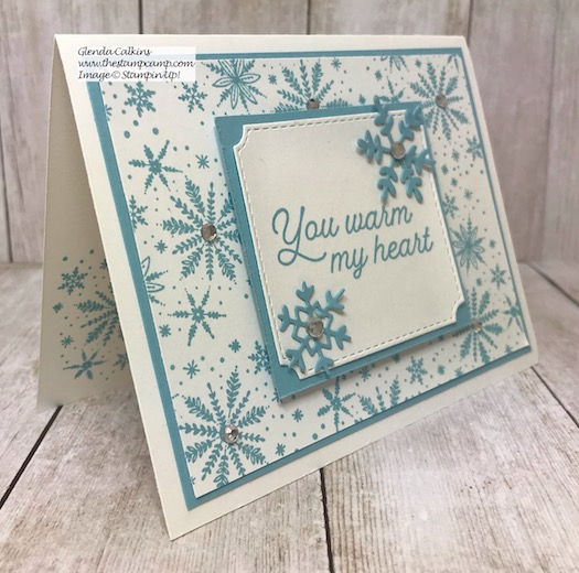 This is the Frosted Foliage Bundle from Stampin' UP! You can't see in the photo but it is sparkling. Details on my blog here: https://wp.me/p59VWq-asQ #stampinup #thestampcamp #frostedfoliage #christmas