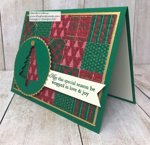 This month my featured stamp set is the Perfectly Plaid bundle. This card is a quilt card and the details can be found on my blog here: https://wp.me/p59VWq-avy #stampinup #perfectlyplaid #thestampcamp #Christmas