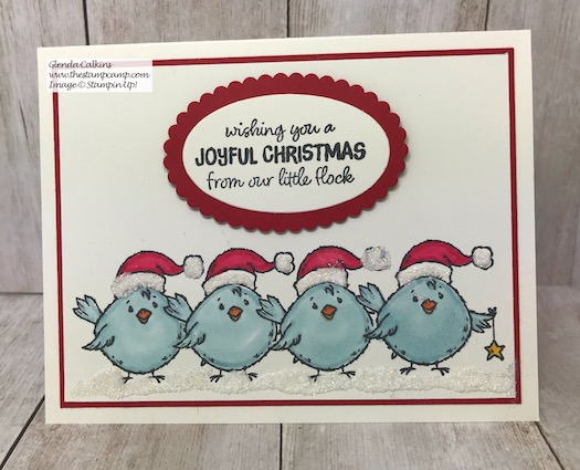This super cute chick is part of the Birds of a Feather stamp set from Stampin' Up! Details on my blog here: https://wp.me/p59VWq-axO #stampinup #thestampcamp #christmas #birdsofafeather