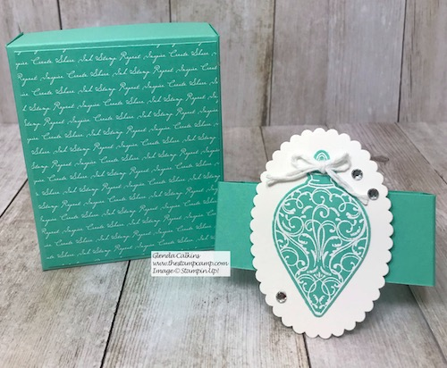A beautiful box all wrapped up for Christmas. What's inside? A Gingerbread Man Bath Bomb from Bath & Body Works! Details on my blog here: https://wp.me/p59VWq-aBD . #thestampcamp #stampinup #christmasgift #handmade