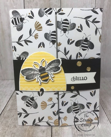 This is the Double Dutch Barn Door fun fold card using the Honey Bee Bundle and the Golden Honey Specialty Designer Series Paper which is FREE during Sale-a-bration. Details are on my blog here: https://wp.me/p59VWq-aKm #stampinup #honeybee #thestampcamp #saleabration