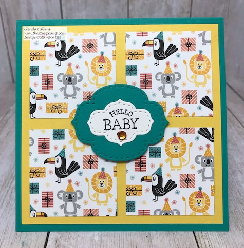 So Sentimental paired with the Birthday Bonanza Designer Series Paper from Stampin' Up! Details can be found on my blog here: So Sentimental paired with the Birthday Bonanza Designer Series Paper #stampinup #thestampcamp #baby