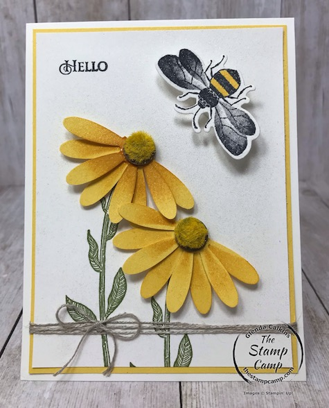 Tuesday's Tips and Techniques is creating a Coneflower and a Wobble Bee. See my blog for details here: https://wp.me/p59VWq-aMZ . #stampinup #wobbles #thestampcamp #daisypunch