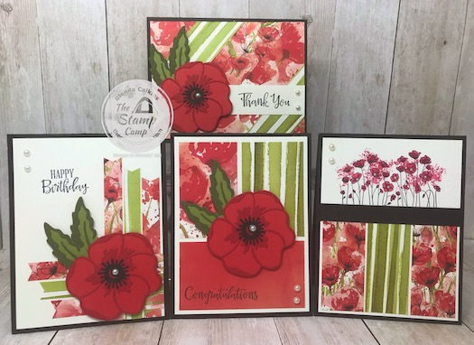 This is the Peaceful Poppies Suite from Stampin' Up! This is the bundle for my Online Class for February using the Peaceful Poppies Designer Series Paper Scraps Class. See my blog for class details Here: https://wp.me/p59VWq-aK8 #stampinup #thestampcamp #poppies
