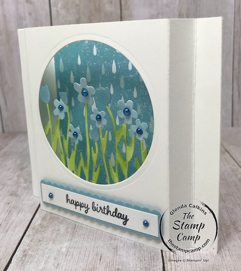 Sending Flowers dies create the perfect Diorama card; plus the Pleased as Punch Designer Paper Works great with this card. Details are on my blog here: https://wp.me/p59VWq-aMj #stampinup #sendingflowers #thestampcamp #dioramacard
