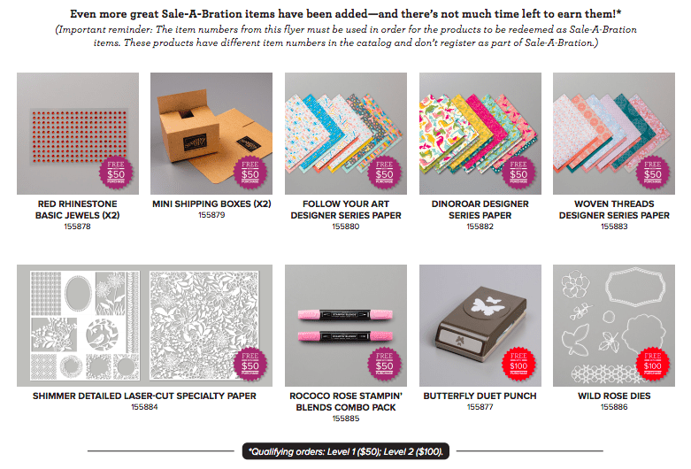 This is the 3rd release of Sale-a-bration from Stampin' Up!  Get a FREE item with every $50.00 spent.  See details on my blog here: https://wp.me/p59VWq-aRX  #stampinup #saleabration #thestampcamp