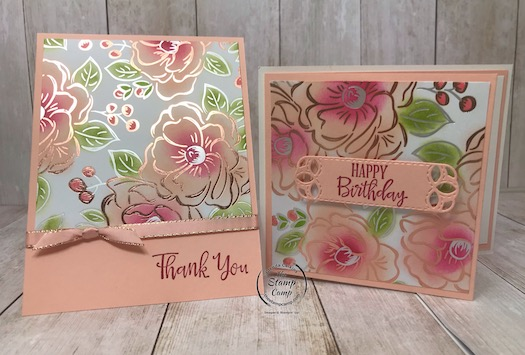 Still playing with the Flowering Foils Specialty Paper which is FREE during Sale-a-bration 2020. Details are on my blog here: https://wp.me/p59VWq-aSp #stampinup #saleabration #thestampcamp #papers