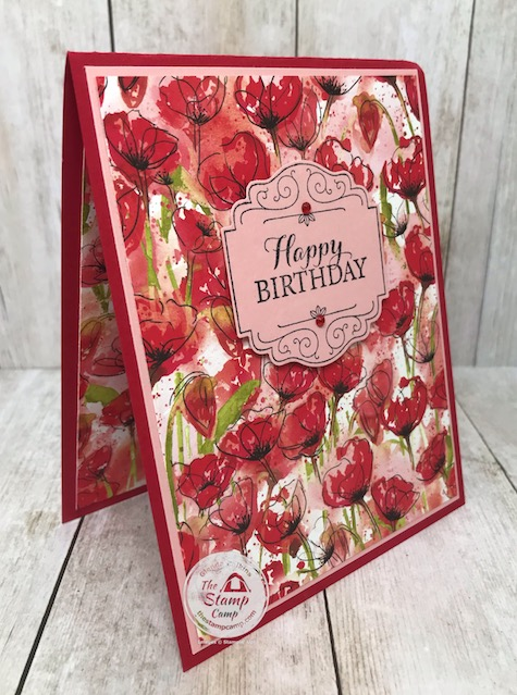 I paired the Layered with Kindness with the Peaceful Poppies Designer Series Papers; great pairing! Details are on my blog here: https://wp.me/p59VWq-aTs . #stampinup #layeredwithkindness #peacefulpoppies #thestampcamp