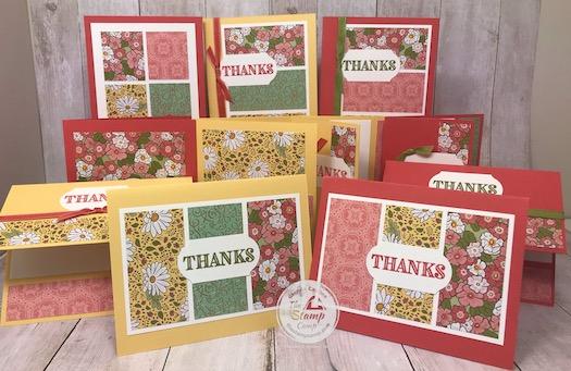 Ornate Garden Designer Paper 11 cards in a snap! Visit my blog here for all the details: https://wp.me/p59VWq-aVk #stampinup #ornategarden #thestampcamp #onesheetwonder