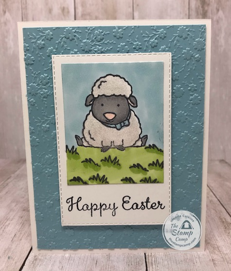 This is from the Welcome Easter stamp set; such a cute little lamb. Details can be found on my blog here: https://wp.me/p59VWq-aUH . #stampinup #easter #welcomeeaster #thestampcamp