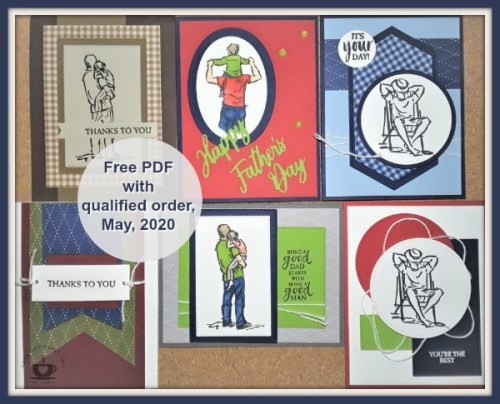Customer Appreciation for May 2020 is the A Good Man stamp set from Stampin' Up! This set makes great cards for birthday's, Father's Day, Thinking of You, Retirement, Get Well. The PDF file is FREE with a min. $40.00 order and the use of the current hostess code. Details are on my blog here: https://wp.me/p59VWq-aXH . #stampinup #fathersday #agoodman #thestampcamp