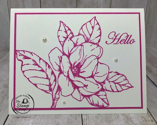 Do you love pink? I'm a pink girl and the New Magenta Madness In Color from Stampin' Up! is right up my alley. This is done with the Good Morning Magnolia stamp set. Details are on my blog here: https://wp.me/p59VWq-bhu. #magnolia #magentamadness #thestampcamp #stampinup