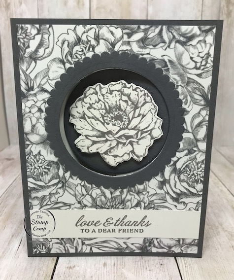 The Prized Peony Bundle is my featured stamp set for July 2020. This awesome bundle has a gorgeous designer series paper pack that coordinates with it as well. It is the Peony Garden Designer Series Paper and I've been creating cards for my Paper Scraps Class as well as bonus cards featured every Thursday night live on my FaceBook and YouTube Channel, The Stamp Camp. Details are on my blog here: https://wp.me/p59VWq-bjL. #stampinup #thestampcamp #glendasblog #peony