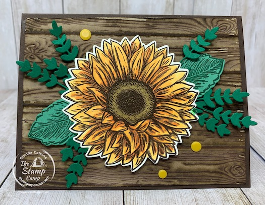 This is a bonus card to my featured stamp set for August 2020 Celebrate Sunflowers. This card coordinates with the other 4 cards in the project with the card portfolio. I think you could probably get all 5 cards in the portfolio okay. Details are on my blog here: https://wp.me/p59VWq-bob. #stampinup #thestampcamp #celebratesunflowers
