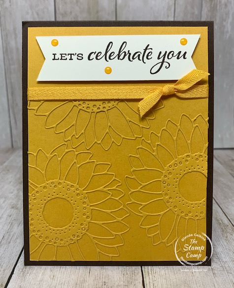 The Celebrate Sunflowers is my featured bundle for August. Each and every Thursday night is August 2020 I go live on my Facebook page or YouTube Channel bringing you another card or project using it. This is what I call a creating a textured background with Intricate Dies. Details are on my blog here: https://wp.me/p59VWq-bpV. #stampinup #celebratesunflowers #thestampcamp