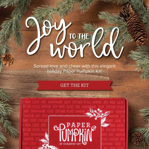 Joy to the World is the Paper Pumpkin kit for October spread some joy with this fun card kit. Details are on my blog here: https://wp.me/p59VWq-buy