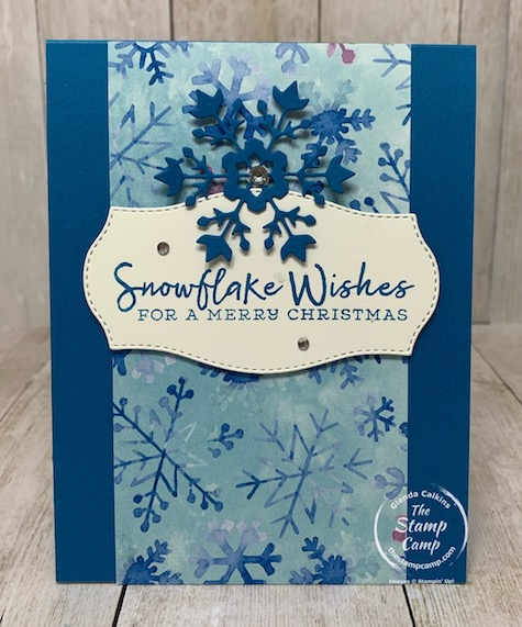 The Snowflake Splendor Designer Series Paper is beautiful on both side so why not showcase both sides? Check out this card/gift card holder using the Snowflake Wishes Bundle and the Snowflake Splendor paper. Details are on my blog here: https://wp.me/p59VWq-brU. #stampinup #snowflake #thestampcamp