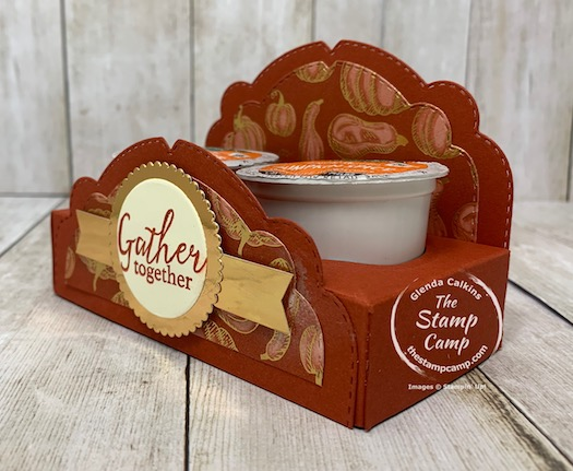 """Make It Monday - Gather Together KCup Holder for a special little gift. Join me at 11AM EST on my Facebook page or YouTube Channel """"The Stamp Camp"""" to see how to create this fun little project. Details are on my blog here: https://wp.me/p59VWq-bwB. #stampinup #thestampcamp #makeitmonday #holder"""