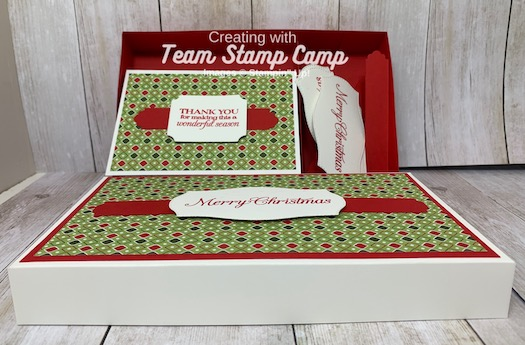 Need a gift idea? This super cute box holds notecards & envelopes plus a space for tags or sentiments that can be added to your cards as you send them out. Details are on my blog here: https://wp.me/p59VWq-byy. #stampinup #thestampcamp #handmadegifts