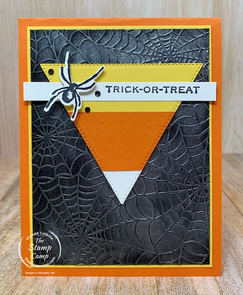 Happy Halloween! Today's card was created for a challenge at the Paper Craft Crew. The triangle on the sketch reminded me of a candy corn so this is what I came up with. The stamp set I used is the Hallows Night Magic bundle. Details are on my blog here: https://wp.me/p59VWq-byW. #thestampcamp #stampinup #halloween #sketches