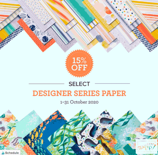 Select Designer Series Paper Packs 15% off in the month of October 2020; see my blog for all the details here: https://wp.me/p59VWq-bv3. #stampinup #thestampcamp #designerpaper