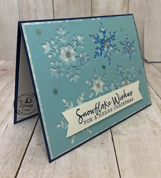 The Snowflake Wishes Bundle is my featured stamp set for October and this was actually laying in my trash remnants from another card; well as I saw it laying in the trash I thought hmmm that would look pretty cool on a card front actually. Details can be found on my blog here: https://wp.me/p59VWq-bxJ. #stampinup #snowflakewishes #thestampcamp #christmas
