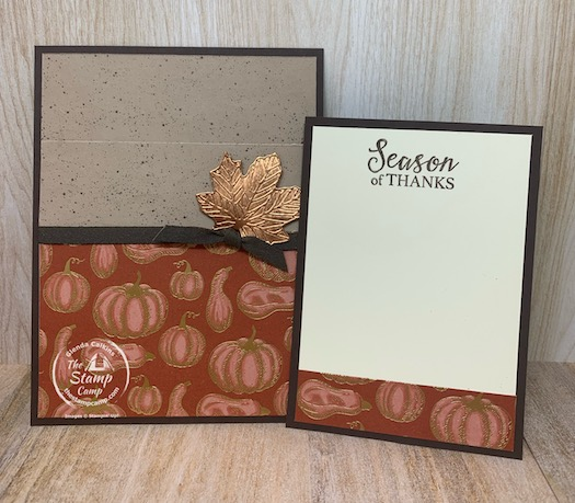 How about we make this a Season of Thanks? What a perfect card to send out this Thanksgiving Season! This card was created for the Sketch Challenge at Splitcoaststampers and it is a pocket card. #stampinup #thestampcamp #thanksgiving