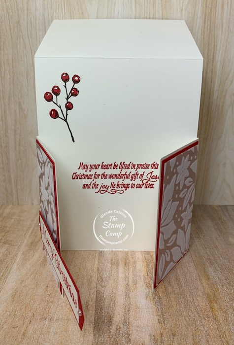 It's Fun Fold Friday and today I have the Double Dutch Fun Fold Card. This might be new to you or an old fun fold. Either way this is a fun card to create and with the Stampin' Up! Poinsettia Petals Bundle and the Stampin' Up! Plush Poinsettia Specialty Papers makes this card a stunner to be sure! #thestampcamp #stampinup #funfold #technique